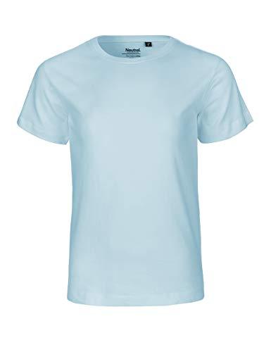 - Camiseta de manga corta para niños, 100% algodón orgánico. Certificado de comercio justo, Oeko-Tex y Ecolabel. azul claro 152 cm