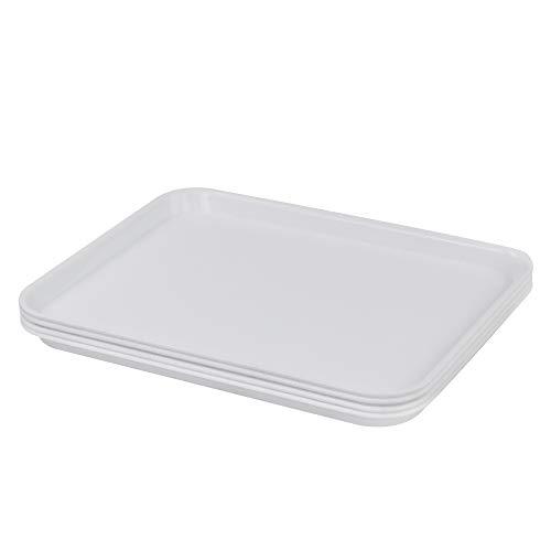 Farmoon Bandeja antideslizante de comida rápida, bandejas rectangulares de plástico, juego de 4 (blanco)