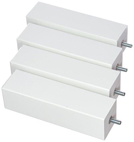 La Fabrique de Pieds AM20170122 Jeu de 4 Pieds de Lit Carres Bois Laqué Blanc 10 x 5,5 x 5,5 cm
