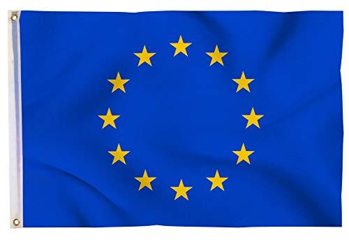 Aricona Europaflagge - Klassische Europaflagge 90 x 150 cm mit Messing-Ösen - Wetterfeste Fahne für Fahnenmast - 100% Polyester