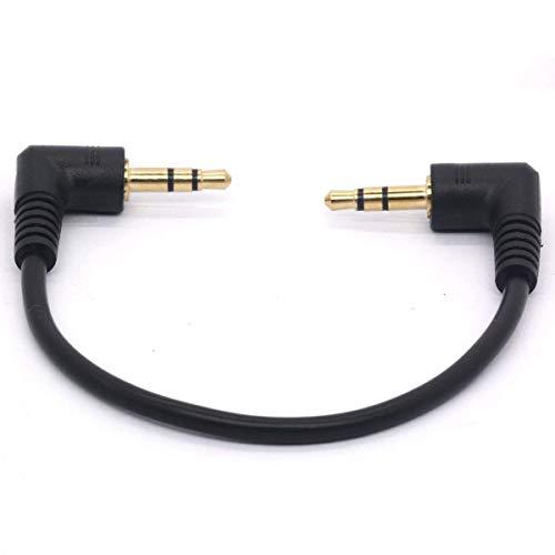 Conector Jack de audio macho a macho, de 3,5 mm en ángulo recto, chapado en oro, 90 grados, cable corto, 3 polos TRS