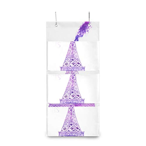 4 Grids Wall Hanging Storage bags,Beautiful Watercolor Eiffel Tower Storage Bag Over The DoorBag with 2 Easy Access Durable Metal Hooks,Space Saver Bags SuiTable for Living Room, Bedroom, Etc