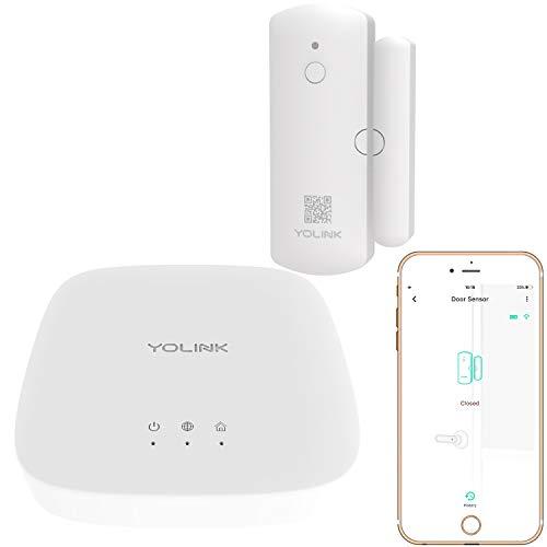 YoLink Door Sensor, 1/4 Mile World's Longest Range Smart Home Wireless Window Door Sensor Compatible with IFTTT (1 Door Sensor with Hub)