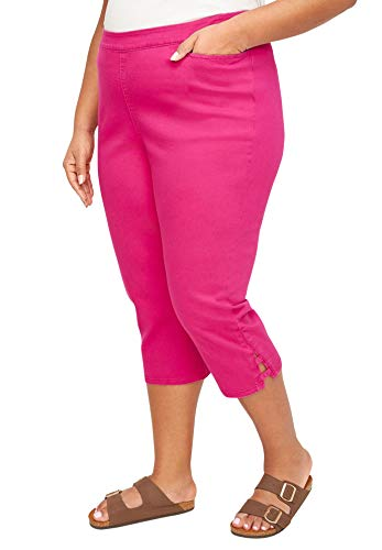 Catherines Women's Plus Size Essential Flat Front Twill Capri with Side Inset - 2X, Deep Tango Pink (1472)