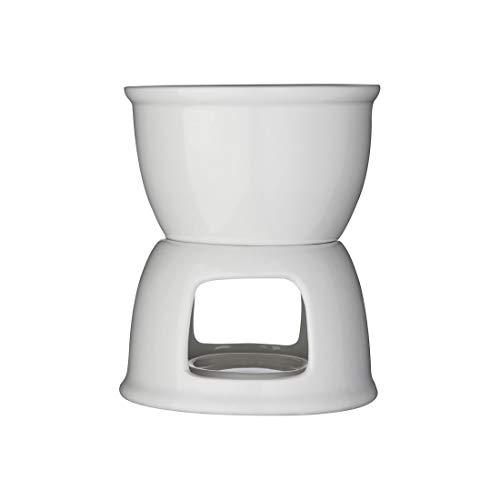 Incrizma Fondue Set, Premium Tea Light Porcelain Melting Pot for Cheese, Chocolate and Tapas - White (Porcelain, 400 ml)