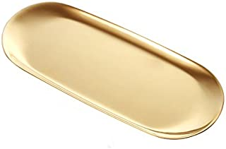Stainless Steel Towel Tray Storage Tray Dish Plate Tea Tray Fruit Trays Cosmetics Jewelry Organizer, Gold, Oval