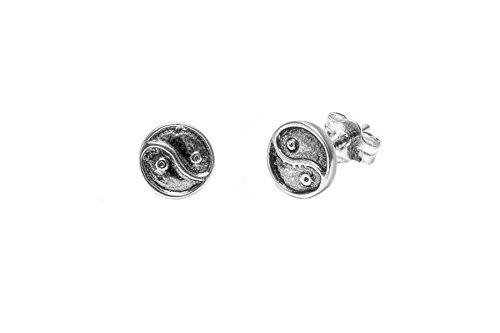 Pori Jewelers - Orecchini a perno Yin Yang in argento Sterling ossidato