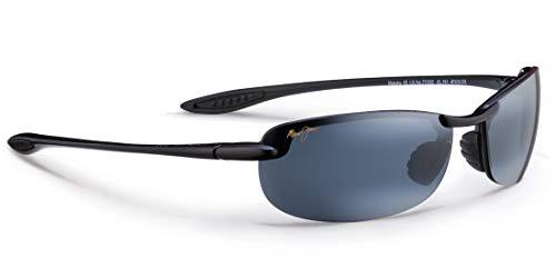 Maui Jim Männer Makaha Sonnenbrille w/Polarisiert Neutral grau Objektiv MJ405-02 Schwarz glänzend groß