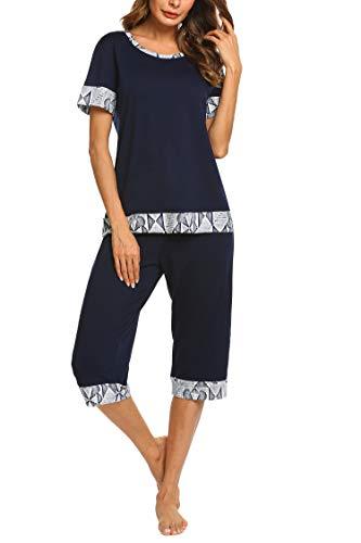 HOTOUCH Short Sleeve Pajamas Bamboo Sleepwear Capri Pants Pj Set for Women Navy Blue L