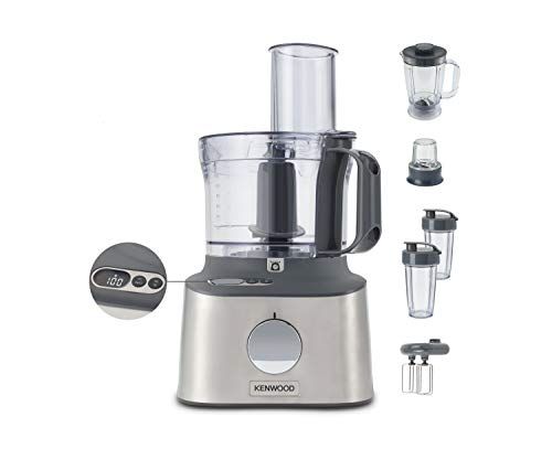 Kenwood Multipro Compact+ FDM312 SS, 5-in-1 Compact Food Processor, Stainless Steel, 2.1 L Capacity, digital weighing scale, Jug Blender, Spicemill, 2x Smoothie Blender, 800 W