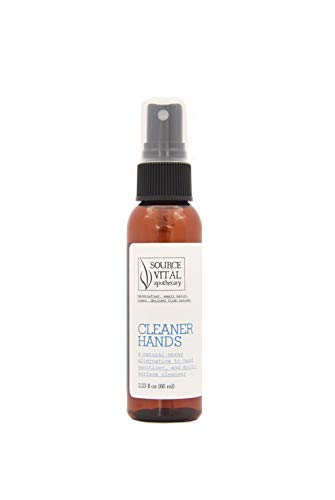 Cleaner Hands Spray by Source Vital Apothecary | Natural Alternative to Hand Sanitizer | 68.5% Alcohol | For Hands & Surfaces | Easy on Your Skin, Clove-Scented | 2.23 fl. oz.