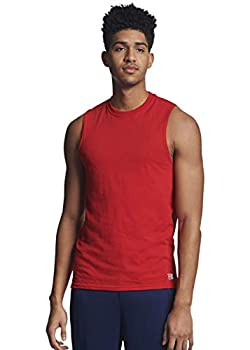 Russell Athletic Men s Cotton Performance Sleeveless Muscle T-shirt,True red,Large