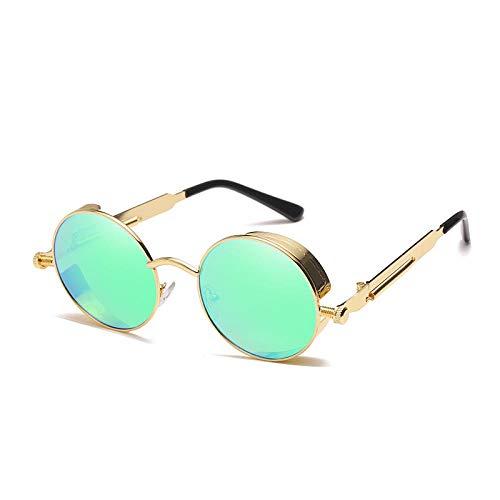 Sunglasses Klassische Steampunk-Sonnenbrille Für Männer/Frauen Retro Round Metal Glasses Men Women Sun Glasses Sonnenbrille Greenfilm