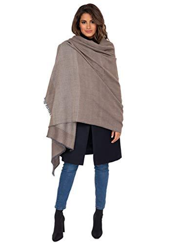 likemary Damen Schal Schultertuch aus 100% Merino Wolle - Poncho Stola XXL Tuch & Umschlagtuch - ideales Geschenk für Frauen - Streifen, 100 x 200 cm Braun