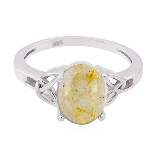 rgpl - gute edelsteine oval cabochon rutilquarz ringe - 925er silber gelber rutilquarz gute edelsteine ring - ledies schmuck geschenk für cyber montag gute ringe
