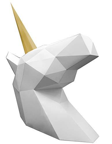 Oh Glam Home Kit DIY Unicornio Papercraft Kit Trofeo de Pared cartón 3D Escultura Origami 3D Puzzle 3D PRECORTADO (Busto Blanco, Cuerno Dorado)