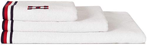 Tommy Hilfiger College Classics - Toalla de ducha (70 x 140 cm), color blanco