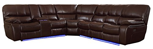 Homelegance Pecos 105' x 117' Leather Gel Power Reclining Sectional with LED, Brown