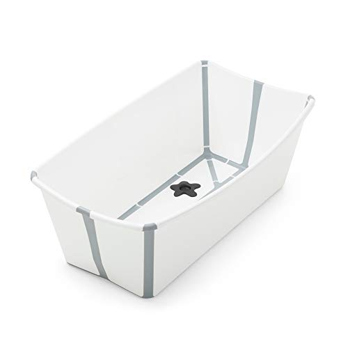 Stokke Flexi Bath, White - Foldable Baby Bathtub - Lightweight, Durable & Easy to Store - Convenient to Use at Home or Traveling - Best for Newborns & Babies