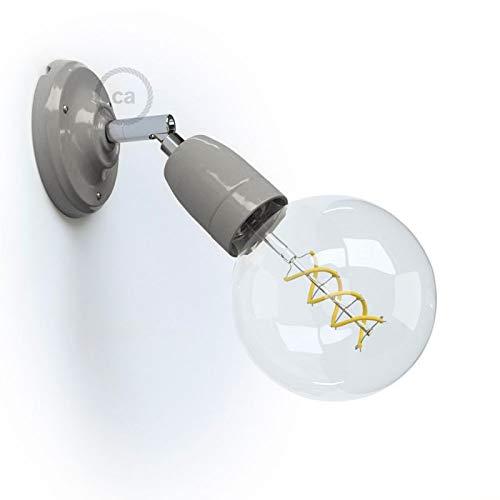 creative cables Color 90°, lámpara de Pared o Techo de Porcelana orientable - con Bombilla, Gris