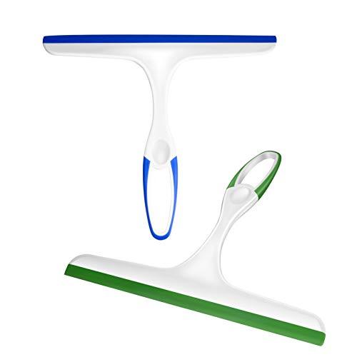 2PCS Squeegee, Multi-Purpose Shower Glass Rubber Squeegees, 22 x 27cm Window Glass Cleaner Scraper for Bathroom Mirror Glass Window Floor (Green/Blue)
