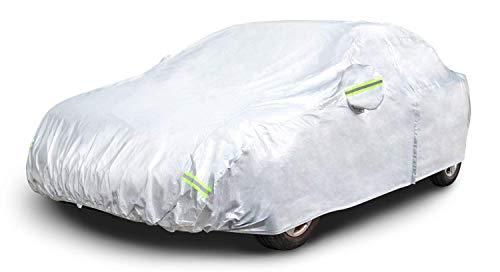 AmazonBasics – Funda resistente a la intemperie para vehículo, poliéster de tipo Oxford de 150D, para sedanes de hasta 530cm, Plateada
