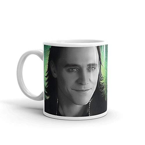 N\A Loki - Tazas de cerámica Brillantes de 11 onzas de cerámica Blanca Thor de 11 onzas, Regalo para Amantes del café.