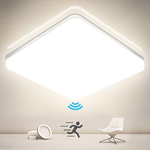 LED Deckenleuchte mit Bewegungsmelder, Oraymin 24W 2600LM Deckenlampe mit Bewegungsmelder, IP54 Wasserfest Sensor Badlampe 4000K für Badezimmer Treppenhaus Flur Balkon Garage Keller 27.8X4.9CM