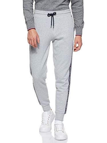 Tommy Hilfiger Repeat Logo Tape Joggers Pantalones Deportivos, Gris (Grey Heather), Large para Hombre