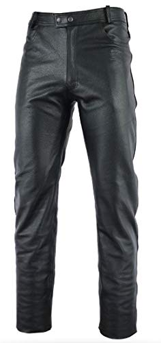 Gaudi-Leathers Pantalon Moto en Cuir Homme, Motard Jean Pantalon Moto en Cuir Jeans - Meilleure qualité Noir 42