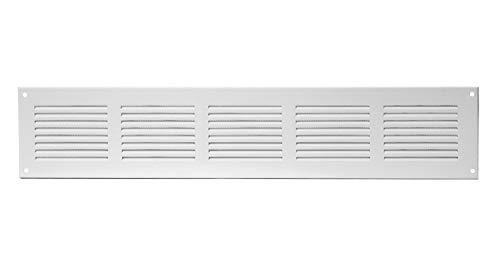Ventilatierooster mr5015 afvoerrooster weerbestendig rooster met insectenbescherming van plaatstaal, wit, 500x115mm