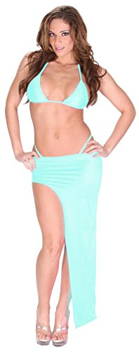 Delicate Illusions Sexy Exotic Dance Club Stretch Lycra Spandex Bikini and Asymmetrical Full Length Skirt Set for Women 6X (24-26) Baby Blue