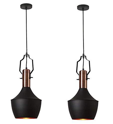 SEESEE.U Industrielle Pendelleuchte, schwarzer und kupferfarbener Lampenschirm, Vintage-Deckenleuchte aus mattschwarzem Metall für Küche, Restaurant, Esszimmer, Bar, Café, 2er-Pack
