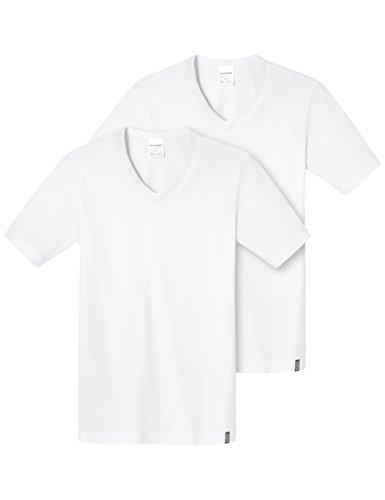 Schiesser Herren Shirt 1/2 Arm (2er Pack) Unterhemd, Weiß (Weiss 100), Medium