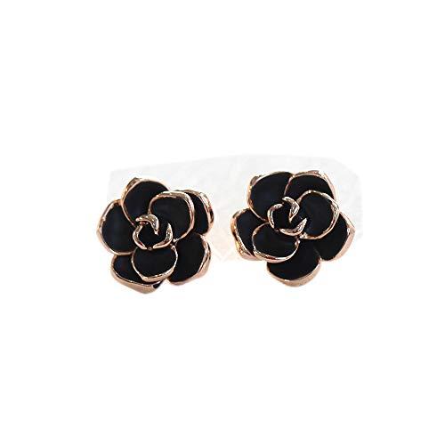 Pendientes de rosas negras de temperamento retro Pendientes de mujer