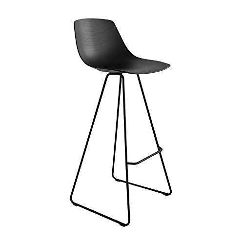 LA PALMA Miunn Bar Kruk Skid Legs Zwart zwart gekleurd open-pored/fineer/frame zwart/zithoogte 75cm