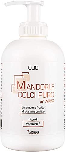 Farmazan - Olio di Mandorle Dolci Puro al 100% - Spremuto a Freddo - 250 ml - Ideale per la Cura dei Capelli e della Pelle Secca - Made in Italy…