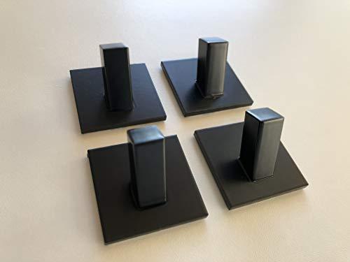 Model Square - Toallero de pared, 4 unidades, autoadhesivo, de acero inoxidable, sin agujeros, ideal para baño, inodoro, cocina, oficina, negro mate, blanco brillante