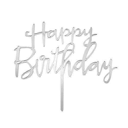 Oblique Unique® Torten Kuchen Cake Topper Aufsatz Happy Birthday Geburtstag Jubiläum Deko Muffin Cupcake Dekoration Silber