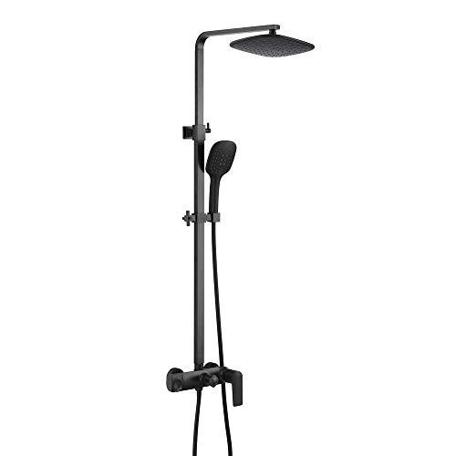 """Duschsystem, an der Wand befestigten Schwarzen Regen Mixer Dusche Set mit 10 """"Duschkopf 3 Funktionshandgriff-Dusche Verstellschlitten Bar, Messing"""