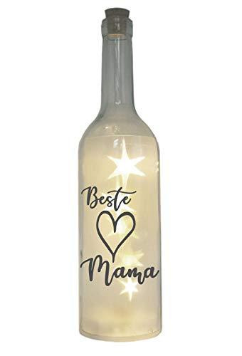 WB wohn trends LED-Flasche mit Motiv, Beste Mama Herz, grau, 29cm, Flaschen-Licht Lampe mit Text Spruch