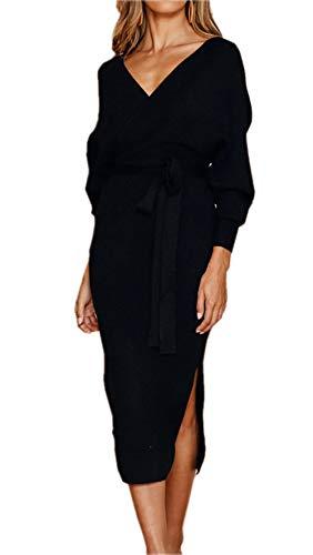 ZIYYOOHY Damen Elegant Pulloverkleid Cocktailkleid Midi V-Ausschnitt Langarm Rückenfrei Partykleid Mit Gürtel (M, Schwarz)