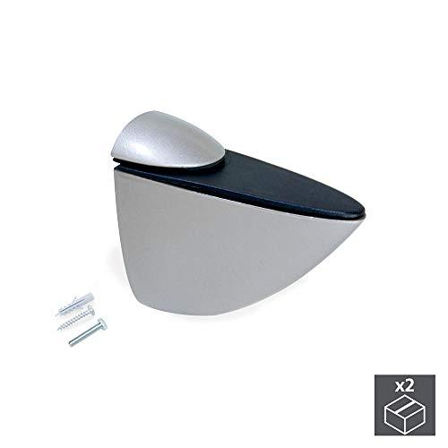 Emuca 4009425 Coppia di reggimensola MOD. Azor per mensole in Legno/Vetro/Cristallo di Spessore 0-25mm Finitura Verniciato aluminio, (M)
