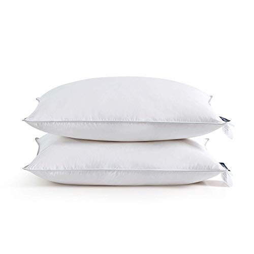 TURMECOWE Goose Down Feather Pillows for Sleeping-Down Pillows Queen Size Set of 2 for Side Stomach Back Sleepers White-20x30 inch