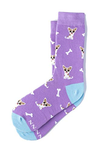 Alynn Damen Designer-Socken für Chihuahua-Hund, kardiert, Baumwolle - Violett - Einheitsgröße