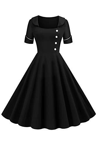 MisShow Damen Rockabilly Kleid Knielang Vintage Retro Kleider Faltenrock Karneval Kleid Weihnachtenkleid Schwarz 2XL