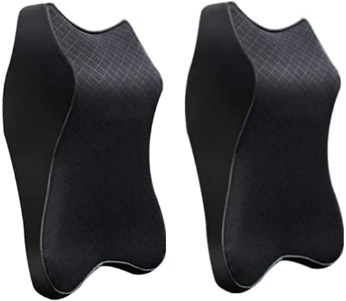 2pcs Ultra Comfy - The Renovation of Neck Pillow,Car Seat Headrest Neck Rest Cushion 100% Pure Memory Foam Neck Pillow for Driver and Passenger Seats (Black)