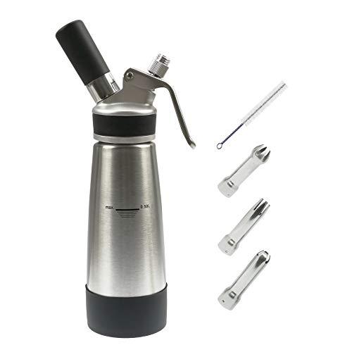Sifone per Panna montata da Cucina per 500ml Professionale in Acciaio Inox 304 Corpo | Tappo in Rame(8g N20 Non Incluso)