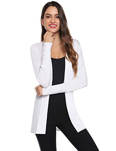 Gilet Femme Tricot Veste Longue Femme Cardigan Long Manches Longues Casual Ouvert Hiver Automne Printemps Vintage,Blanc,L