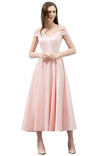 HX fashion Vrouwen Lange Off Shoulder Satijnen Comfortabele Maten Prinses Jurk Off Shoulder Avondjurk Baljurk Bruidsmeisje Jurk Prom Feestjurk Maat 32 46